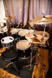 Tama Swingstar Drum set , Bass and three toms 10 12 14 ins. Snare. Sabian and Zildjian cymbals .