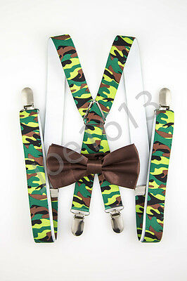 Milk Chocolate Bow Tie Green And Brown Camo Suspender Combo Set Wedding SDBT163