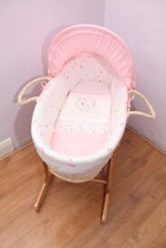 My Little Garden Moses Basket and Wooden Rocker Stand