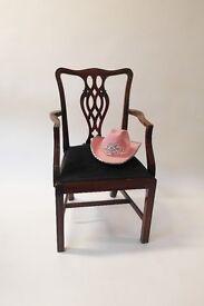 Vintage Wood Lattice Back Carver Dining Chair