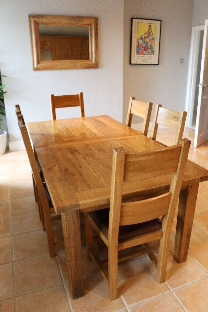 Pleasant Extending Dining Table Natural Oak Solid Seats 6 People Extends To Seat 8 8 Chairs Included In Bromley London Gumtree Inzonedesignstudio Interior Chair Design Inzonedesignstudiocom