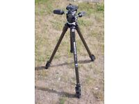 Manfrotto 290 XTC3 carbon fibre and magnesium tripod with fluid drag upgraded 804RC2 pan/tilt head