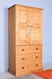 DELIVERY OPTIONS - QUALITY SOLID PINE WARDROBE/CUPBOARD 3 DRAWERS WAXED FINISH
