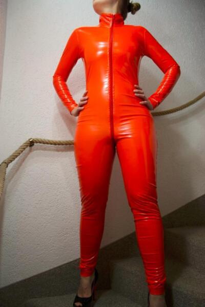 pvc look catsuit overall orange lack look gr s l oder xxl in m nchen maxvorstadt ebay. Black Bedroom Furniture Sets. Home Design Ideas