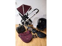 Aubergine Silver Cross Surf pram travel system with car seat 3 in 1 CAN POST