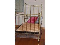 Antique Brass Single Bed frame on wheels