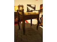 Vintage piano stool with open top and Queen Anne legs