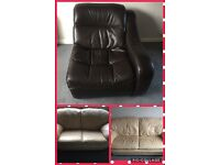 Leather sofas and single sofa ( can be used as gaming chair)