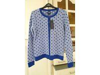 TOMMY HILFIGER Lovely Pima Cotton Blue & White Pattern Cardigan Size S RRP £60+
