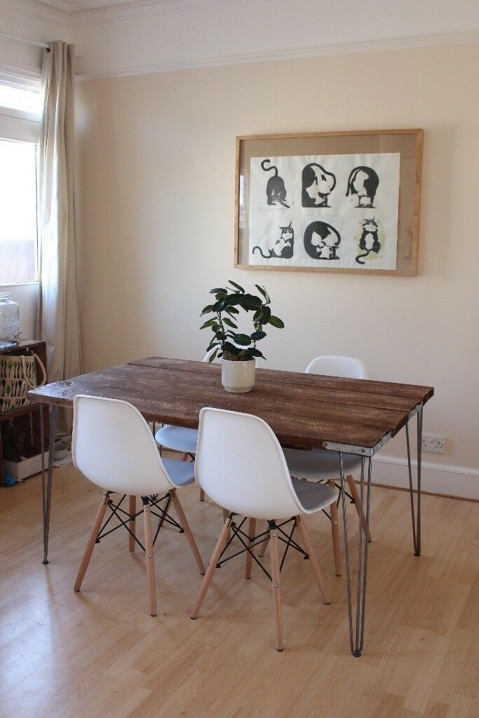 dining kitchen table wood rustic industrial handmade uk