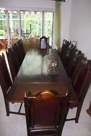 **REDUCED** Jacobean Reproduction Dining Table & 10 Red Hide Chairs REALLY STUNNING
