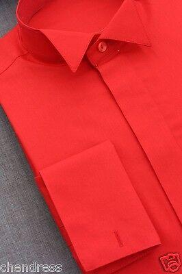 Frackhemd Smokinghemd Herrenhemd Kläppchenkragen Baumwolle rot