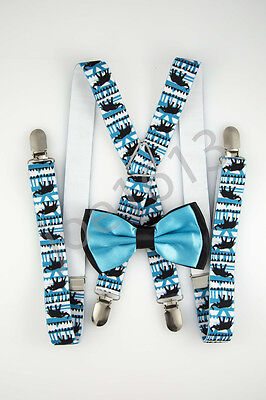Bow Tie Blue Back (Teal Center Black Back Bow Tie Black Elephants Blue White Suspender Set)
