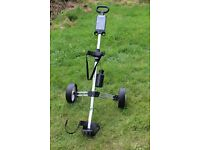 Golf Trolley. Used - Good condition. Folds down with bottle, score card, pencil and ball holder.