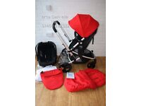 Mothercare Xpedior pram with car seat 3 in 1 - Red Salsa *can post*