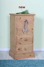 NEW - QUALITY PINE 4 DRAWER BEDSIDE TABLE NOT IMPORT OR FLAT PACKED-CAN COURIER