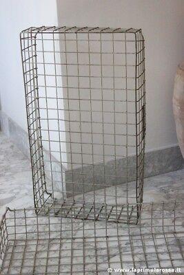 CESTO INDUSTRIALE ANNI 70 IN FERRO PER TRASPORTO PANE VINTAGE WIRE BAKER'S TRAY