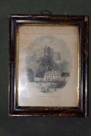 Framed 19th Century Lithograph of Edinburgh Castle