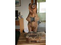 Black Forest Carved Wooden Bear Umbrella Stand