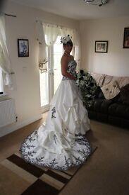 Black and ivory wedding dress an bridesmaid dresses