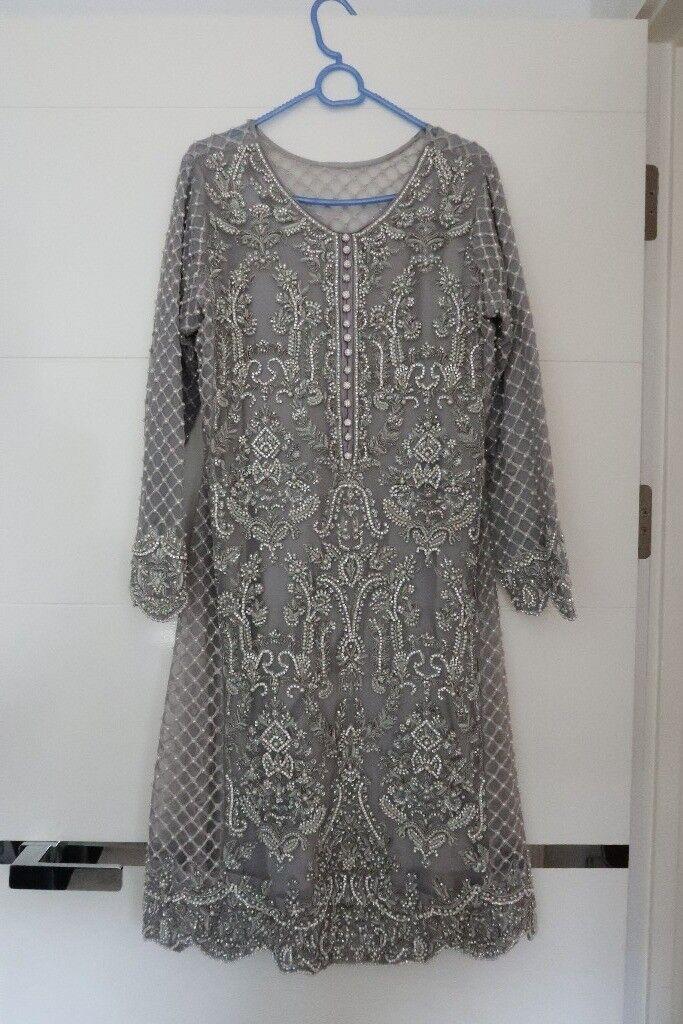 5c9fd8a0a4e Stunning Elan inspired Pakistani Dress in light grey size 12