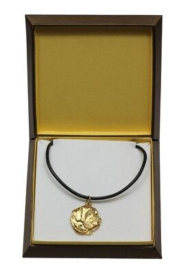 Spanish Mastiff - gold plated necklace with dog, in box, Art Dog USA