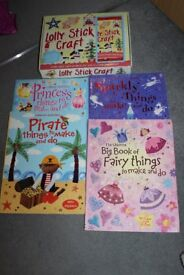 Craft bundle of books and Lolly stick craft box