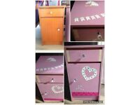 Upcycled unique bedside table, cabinet locker pink unicorn