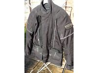 "frank thomas aqua pore motorcycle jacket size S 34"" / 36"""