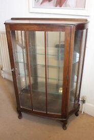 Edwardian Walnut & Glass Display Cabinet