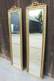 Pair of Antique style Tall Slim Bevelled Narrow full length Mirrors