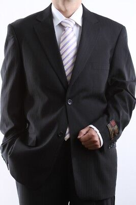 MENS TWO BUTTON BLACK TONAL STRIPE DRESS SUIT SIZE 46L, PL-65712N-BLK