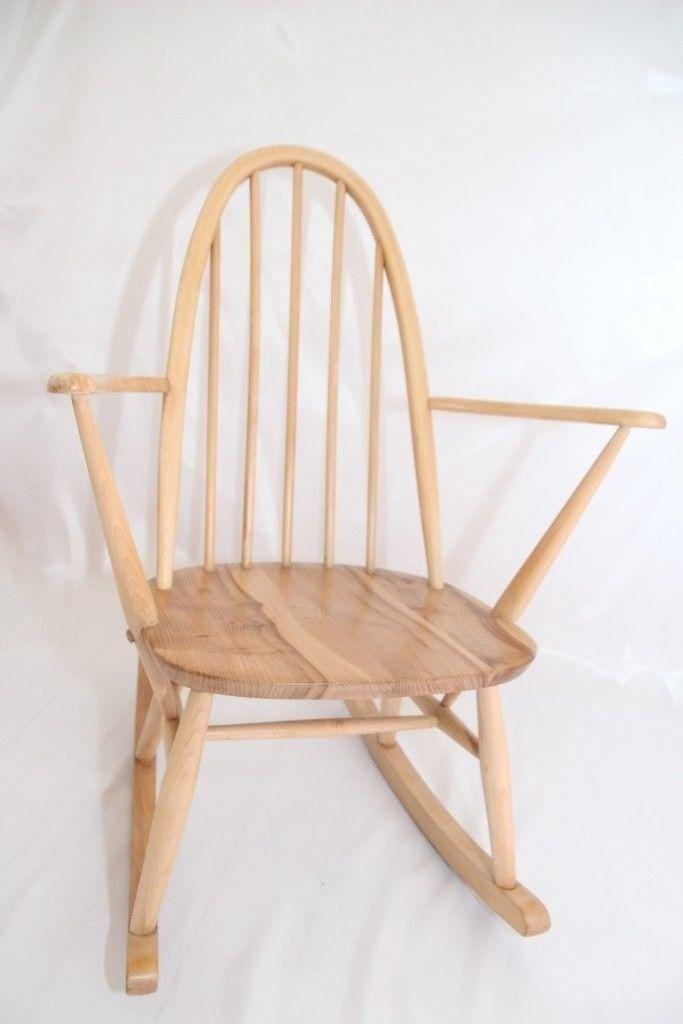 Ercol Windsor Small Quaker Rocking Chair In Blonde Elm Antique Vintage Retro