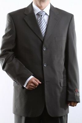 MEN'S SINGLE BREASTED 3 BUTTON OLIVE DRESS SUIT SIZE 38S, PL-60513-OLI