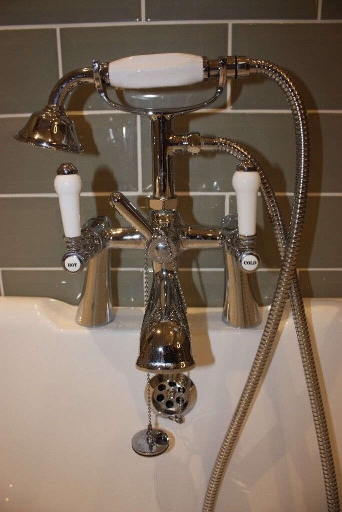 Vintage style mixer tap with shower head for free standing bath ...