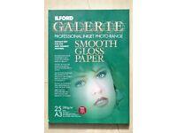 Ilford Galerie A3 (297 x 420cm) gloss 280gm printer photo paper.