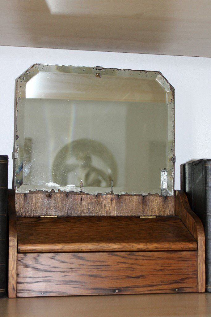 """C1940s Vintage Mirror with Cabinet (Size of Mirror Approx.: 13 ½"""" X 11"""" X 5"""")"""