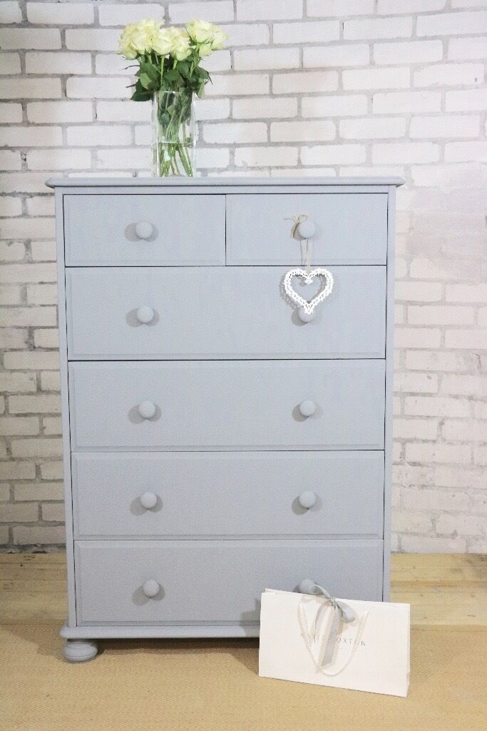 Beautiful Light Grey 6 Drawer Dresser Tallboy Chest