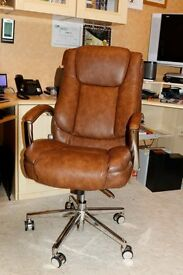 Executive office chair, tan coloured and hardly used.