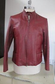 Leather Jacket, Ladies, bordeaux red, size 42