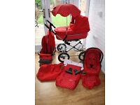 Babystyle Lux Prestige pram travel system in Polka red 3 in 1 ---CAN POST--