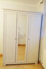 Sturdy Big White Wardrobe Like New (with mirror), Quick Sale!