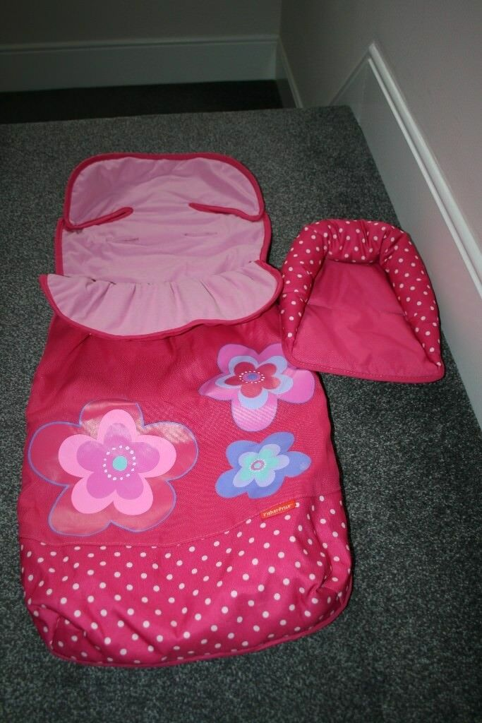 Fisher Price universal pushchair FOOTMUFF and head support - pink flowers dots *can post*