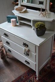 White vintage oak dressing table