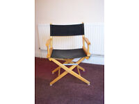 Film Director's collapsible wooden chair with Black canvas