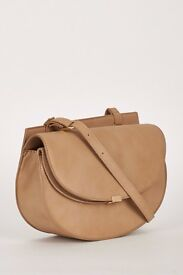 Fashionable Brown Crossbody Shoulder Bag With Twin Magnet Closure