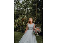 Beautiful A-Line embellished waist lace back ivory wedding dress floor length size 12 medium
