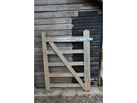 Wooden 5-bar double gates and matching side-gate