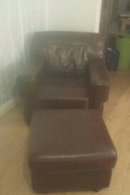 two real leather armchair and footstool