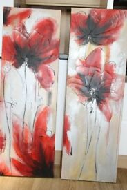 TWO LARGE ABSTRACT CANVAS PAINTING OF POPPIES